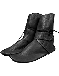 Mens Renaissance Slip on Loafer Boots Medieval Cosplay Pirate Viking Tied Halloween Cuff Shoes