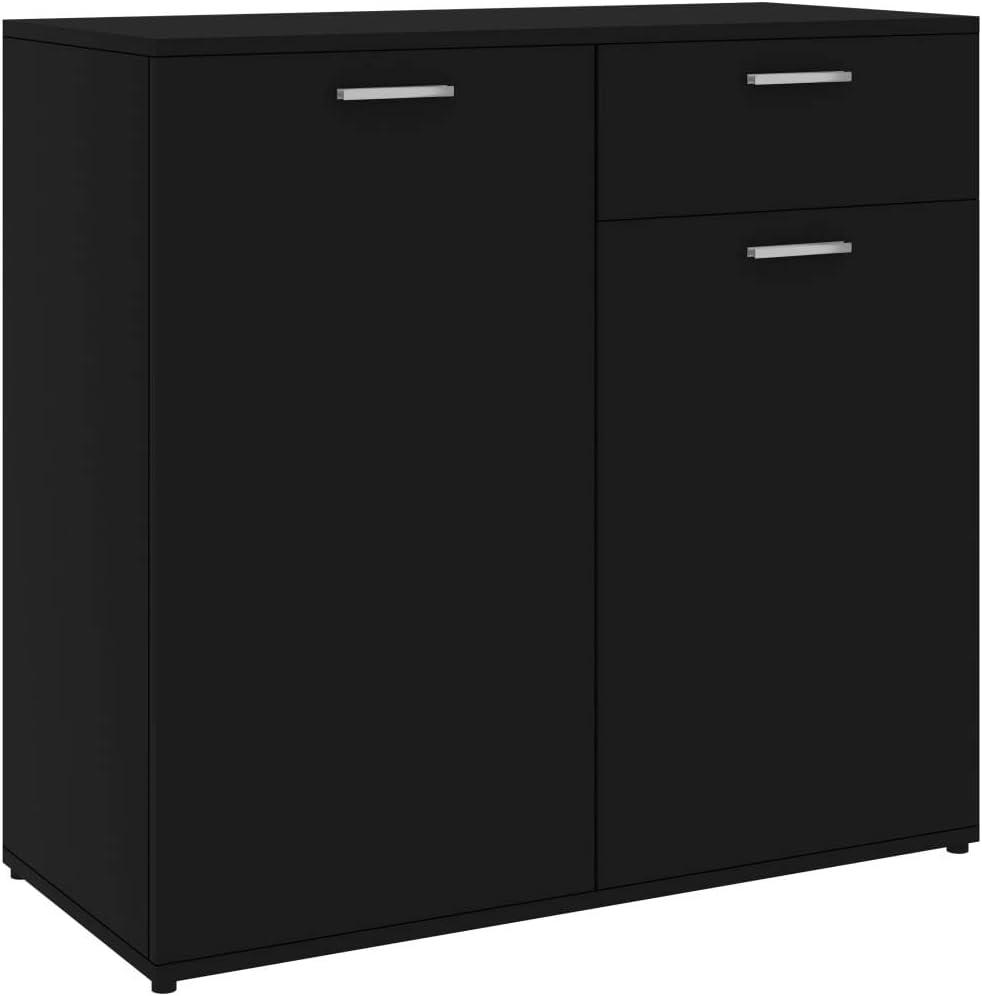 Drawer Cabinet for Home Living Room Bedroom Grey 80x36x75 cm Chipboard Bedside Cabinet Nightstand Festnight Sideboard