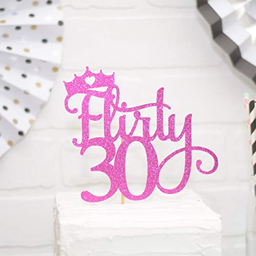 Flirty 30 Cake Topper for 30th Birthday Pink