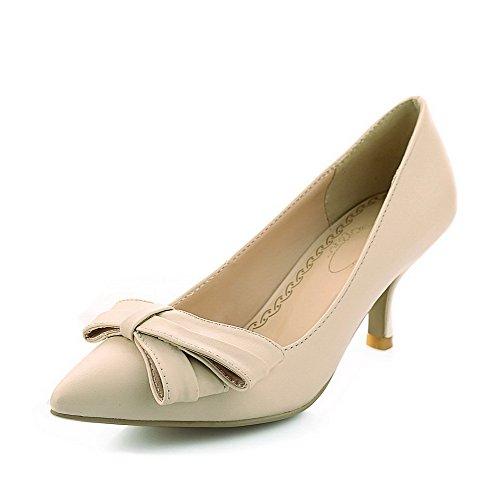 Damen Rein Weiches Material Hoher Absatz Ziehen auf Rund Zehe Pumps Schuhe, Weiß, 41 VogueZone009