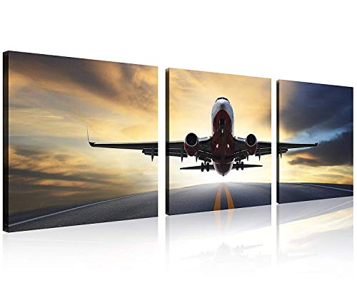 TutuBeer Vintage Airplane Wall Art Vintage Airplane Decor Airplane at Sunset Old Paper Airplane Picture Canvas Airplane Wall Art Stretched and Framed Aircraft Picture Artwork for Home Decor,3 pcs/Set