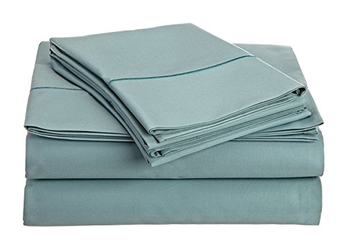 Chateau Home Collection 800-Thread-Count Egyptian Cotton Deep Pocket Sateen Weave Queen Sheet Set, Blue