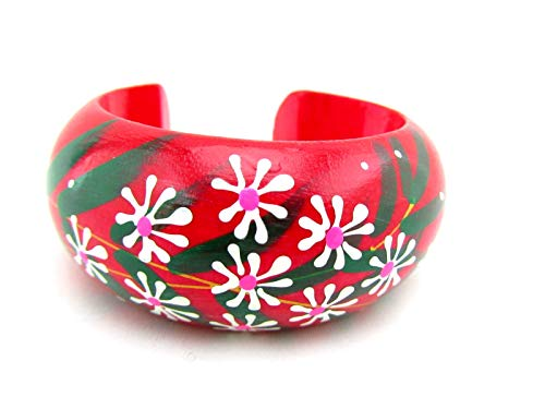 - Hand Painted Colorful Open Cuff Bangle Handmade Wooden Bracelet for Women (Mini Daisy - Lipstick Pink)