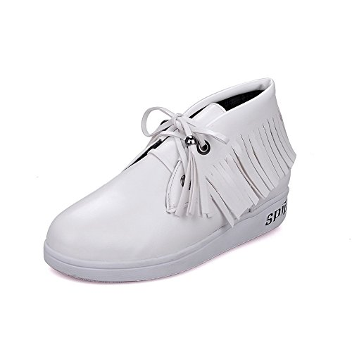 VogueZone009 Women's Round Closed Toe Lace-up PU Solid Low Heels Pumps-Shoes White SJdb7cNje