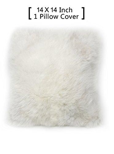 100% Real Alpaca Fur Pillow Cover 14x14 Square (White)