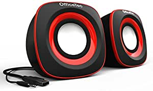 OfficeTec USB Speakers Compact 2.0 System for Mac and PC (Red)