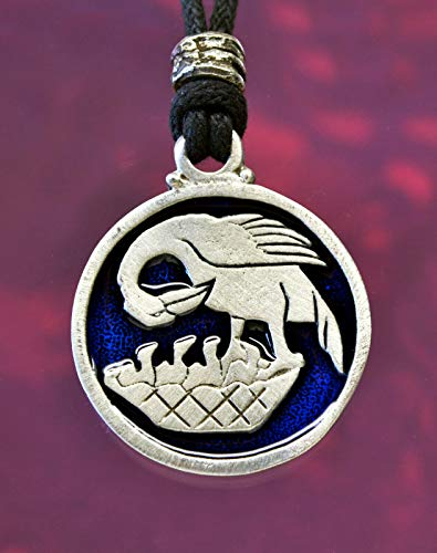Pelican in her Piety Pendant Necklace in Fine Lead-Free Pewter Blue Color ()
