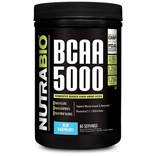 NutraBio BCAA 5000 Powder – 60 Servings Blue Raspberry