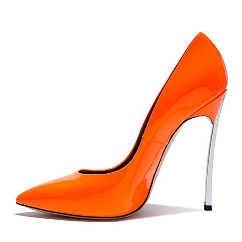 Donna Arancione 35 Pompe Brevetto Yxg Alti Dimensione Stiletto Punta Tacco Da Sottile 42 Donne Della Scarpe Talloni PPYnq6SwA
