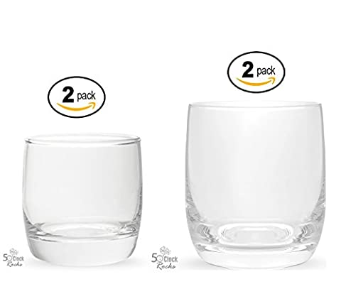 5 O'Clock Rocks Combo Set of 2- 6.5oz and 2 11oz Whiskey Glasses, Choose the Right Glass for Every (Two Rock Combo)