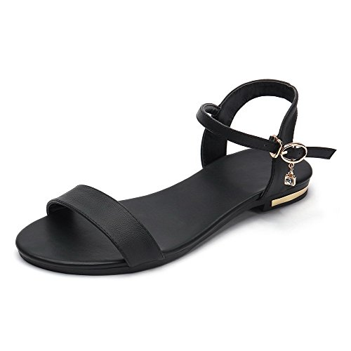 Black Women's Low Cow Buckle Toe WeenFashion Sandals Solid Open Heels Leather d4xvdnIw
