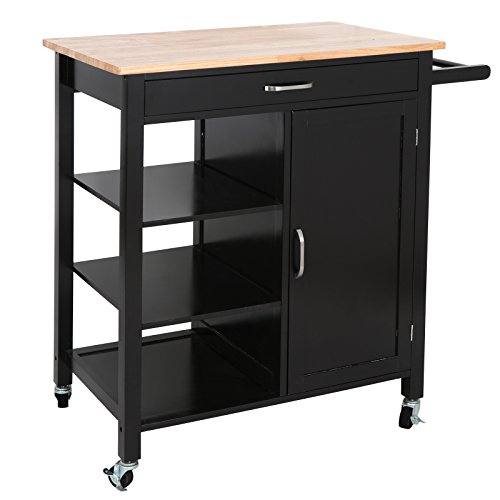Cabinet Butcher Block - SUPER DEAL 4-Tier Utility Rolling Kitchen Storage Cart Kitchen Trolley Serving Cart w/Rubberwood Butcher Block Work Surface, Cabinet, Towel Bar, Drawer and Shelves