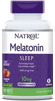Natrol Melatonin Fast Dissolve Tablets, Helps You Fall Asleep Faster, Stay Asleep Longer, Easy to Take, Dissolves in Mouth, Faster Absorption, Maximum Strength, Strawberry Flavor, 10mg, 100 Count