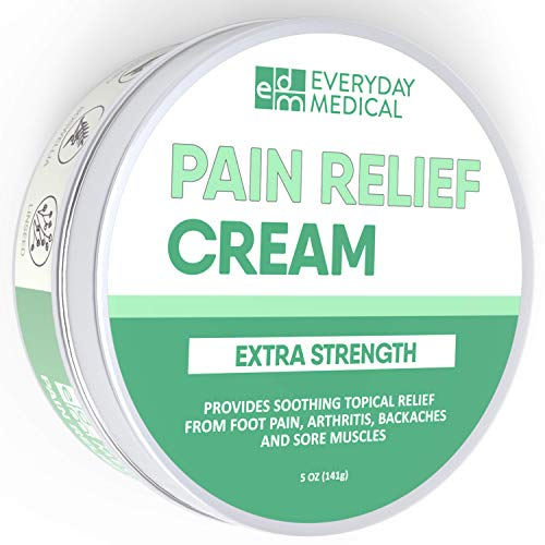 Everyday Medical Extra Strength Pain Relief Cream I Best for Muscle Aches & Sore Joints, Foot and Plantar Fasciitis Pain, Arthritis and Back Pain I Pain & Inflammation Relieving Formula 5oz (148g)