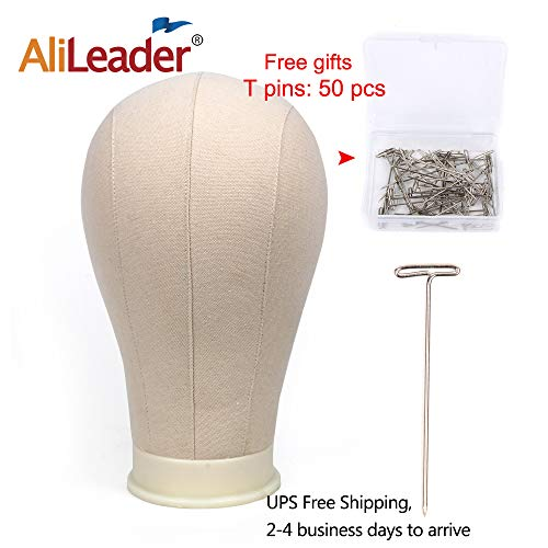 AliLeader 22 Professional Canvas Block Mannequin Block Head For Wig Making, Display with Mount Hole(Canvas head+50PCS T-pins)