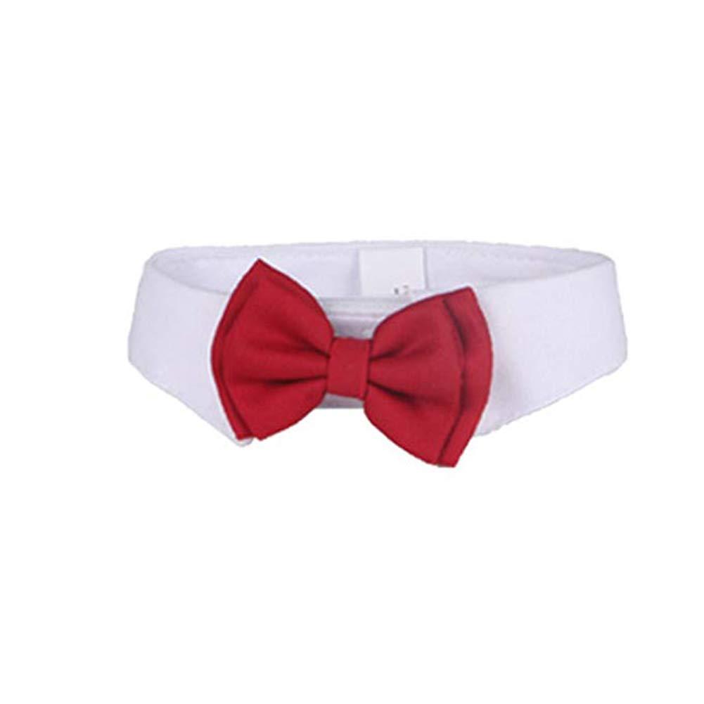 Wicemoon 1pcs Corbata para Mascotas Mascota Perro Gato Corbata de Lazo Ajustable Linda Corbata Roja 37 * 6.5cm