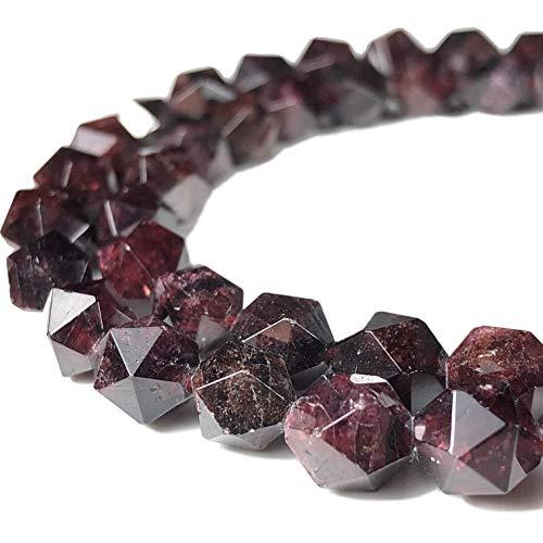 [ABCgems] Madagascan Red Garnet 8mm Precision-Star-Cut Beads for Beading & Jewelry Making (Bracelet Strand Aquamarine)