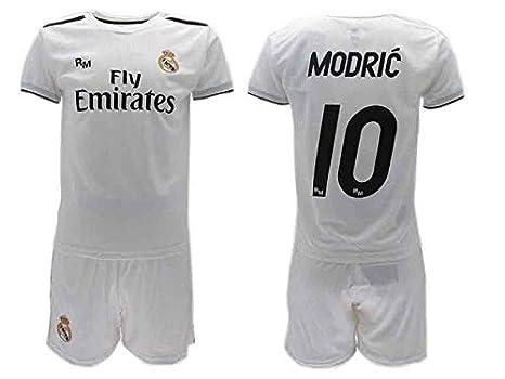 Completo Ufficiale Real Madrid Modric Bianco Home 2018 2019 in Scatola  Regalo Maglia + Pantaloncini ( 0435651badad
