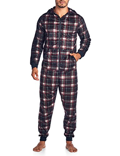 Ashford & Brooks Men's Mink Fleece Hooded One-Piece Union Suit Pajamas - Black/White Plaid - - Union Plaid Suit