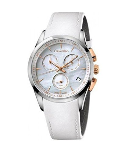 - Calvin Klein K5A37BLG Chronograph Mother Of Pearl Dial White Leather Ladies Watch