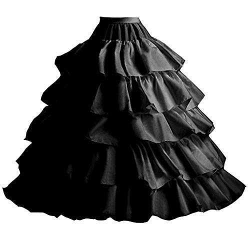 YUAKOU Women's 4-Hoop 5 Layer Wedding Petticoat Skirt Quinceanera Gown ()