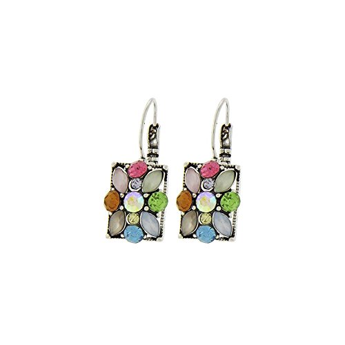 Silver Pastel Crystal Rectangle Leverback Earrings