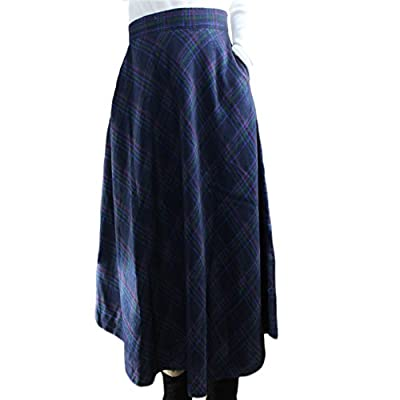 Women's Fall Winter Long Max Plaid OL Woolen Warm A-line Expansion Skirts Skirt
