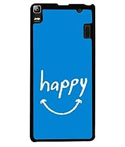 FUSON Designer Back Case Cover for Lenovo K3 Note :: Lenovo A7000 Turbo (Blue Background Themes Stay Happy White Font)