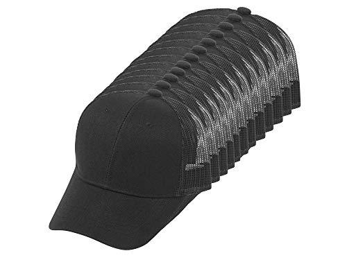 TOP HEADWEAR 12-Pack Youth Adjustable Trucker Mesh Caps - Black -