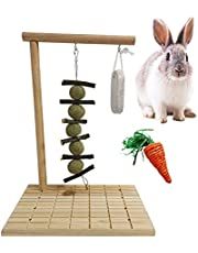 kathson Rabbit Wooden Scratch Board Foot Pad with Chew Toys for Teeth, Small Animals Grinding Claws Care Pet Play Toy for Guinea Pig Chinchilla Bunny Hamster