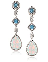Sterling Silver, Created Opal, Blue Topaz, and Diamond Drop Earrings