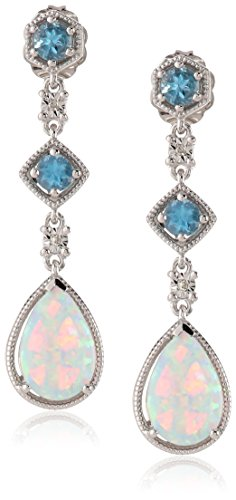 Sterling Silver, Created Opal, Blue Topaz, and Diamond Drop (Diamond October Birthstone Earrings)