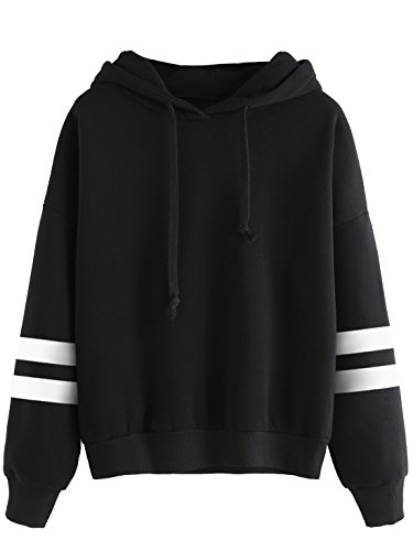 SweatyRocks Sweatshirt Girls Pullover Fleece Drop Shoulder Striped Hoodie For Girl Black #3 XL