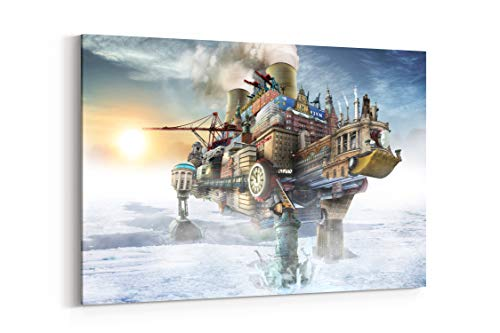 Steampunk Mechanical Cities Ships - Canvas Wall Art Gallery Wrapped 18