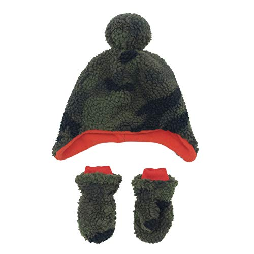 accsa Kid Boy Camo Sherpa Earflap Pilot Trapper Hat and Mitten Set with Fleece Lining Age 3-6