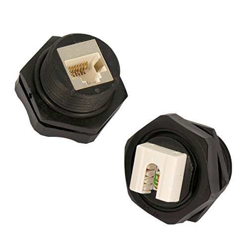 Installerparts CAT 6 RJ45 Shielded Industrial Panel Mount Keystone Punchdown Jack IP67 Waterproof - Professional Series Network Connectors - Black ()
