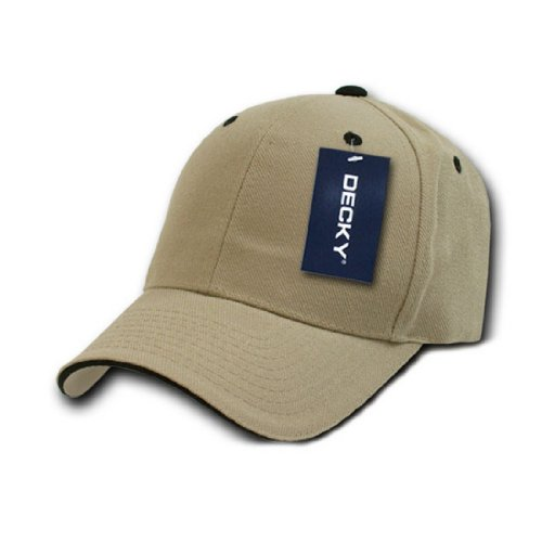 (DECKY Inc Sandwich Visor two Tone Baseball Caps 2003 Khaki Black)
