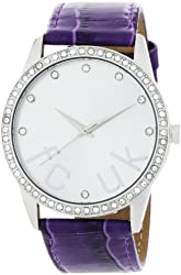 FCUK Women's FC1053SS Purple Leather Strap Stainless Steel Watch