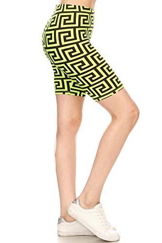 Leggings Depot LBKX-S750-2X Neon Green Meander Print Fashion Biker Shorts, 2X Plus
