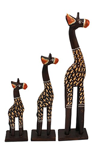 Hand Carved Wood Giraffe Family, 3 PC African Decor Figurines ()