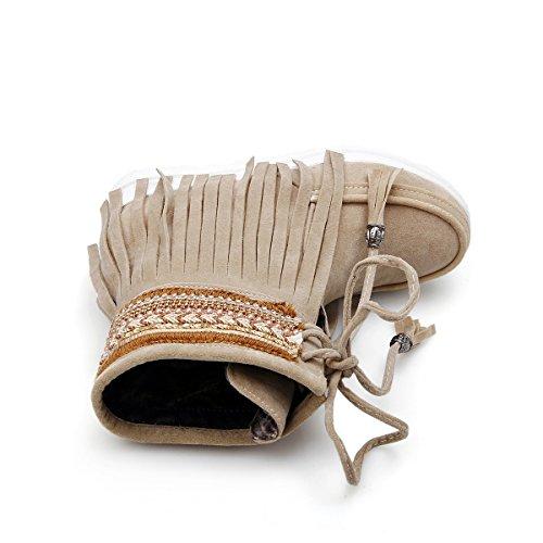 ... YE Damen Flache Ankle Boots Gefütterte Stiefeletten mit Schnürung und Fransen  Bequem Warm Winter Schuhe Braun ... b428796528