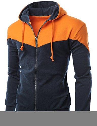 mens V-shaped Colorful Zip up hoodie ORANGE - Shaped Men V