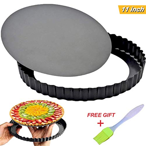 Tart Pie Pan 11 Inch with Removable Loose Bottom Non-Stick Round Fluted Flan Quiche Pizza Cake Pans