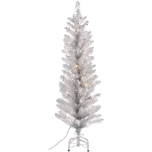 Festive 4-Foot Pre-Lit Tinsel Silver Tree 50 Clear Lights and Metal Stand - Metal Stand - Helps Make Holiday Season Extra Special - 50 Clear Lights and Metal Stand