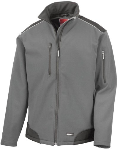Result Ripstop Softshell Work Jacket, Grey / Black, L