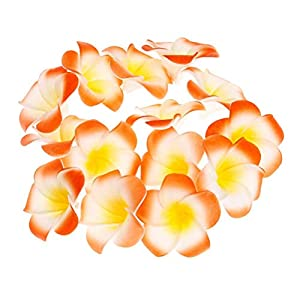 Pursuestar 100Pcs Orange Foam Hawaiian Frangipani Artificial Plumeria Flower Petals Cap Hair Hat Wreath Floral DIY Home Wedding Decoration 5cm