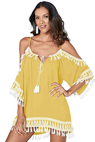 (onlypuff Swim Cover Up Yellow Taeel Cold Shoulder Beachwear for Women Short Sleeve Tunic Dress XL)