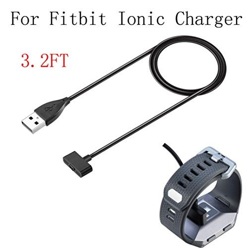 Price comparison product image Boofab Fitbit Ionic Charger,  Replacement USB Charging Cable Cord Charger Cradle Dock Adapter for Fitbit Ionic,  Fitness Tracker Wristband Smart Watch