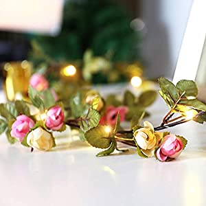 AceList 2M/ 6.6ft Mini 20 LEDs Green Artificial Rose Flower Leaf Garland Fake Ivy Vines String Lights for Mother's Day Christmas Party Year Wedding Garden Indoor Décor 2