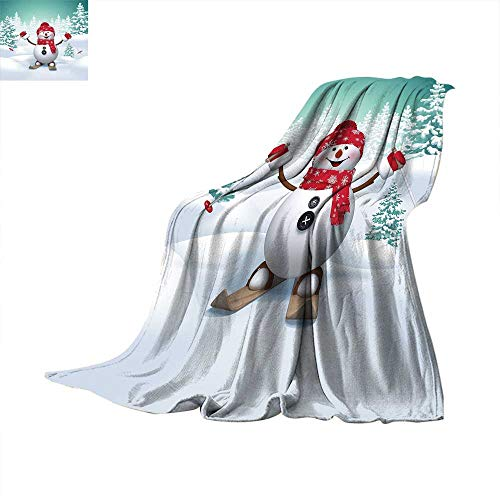 Christmas Travel Throw Blanket Snow Covered Mountain with Fir Trees and Skiing Snowman Fun Holiday Activity Velvet Plush Throw Blanket 50 x 30 inch Teal Red White